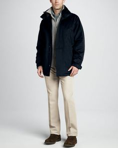 Icer Storm System Jacket, Cashmere Sweater Shirt, Pique Polo & Four-Pocket Twill Pants by Loro Piana at Neiman Marcus.