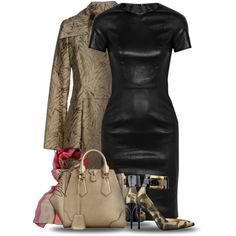 """""""Leather Dress with Camouflage Pumps"""" by yasminasdream on Polyvore"""