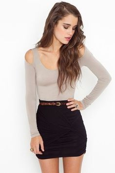 like the long sleeves with peek-a-boo shoulders and the knot skirt!