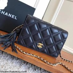 Chanel Fringe Lambskin Quliting Wallet on Chain WOC Bag A82705 2017