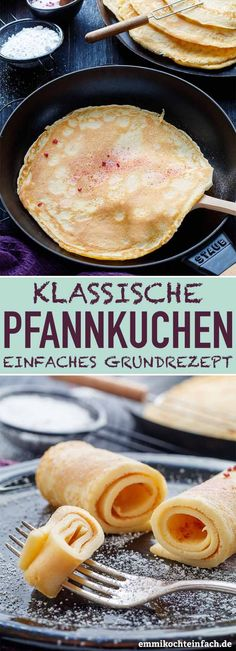 Emmis klassische Pfannkuchen - mein Grundrezept - emmikochteinfachThanks for this post.Emmis classic pancakes - my basic recipe My simple and classic basic recipe from childhood is quick and easy to make yourself with just a fe# basic Pancake Healthy, Pancake Breakfast, Greek Diet, Evening Meals, Few Ingredients, Greek Recipes, French Recipes, Food Items, A Food