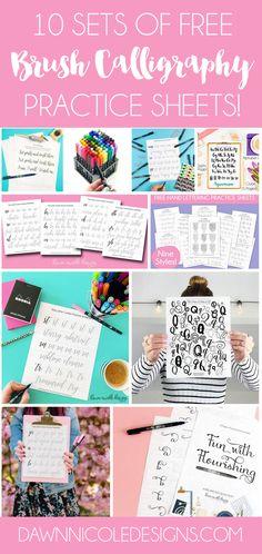 10 Free Hand Lettering Practice Worksheets   DawnNicoleDesigns.com