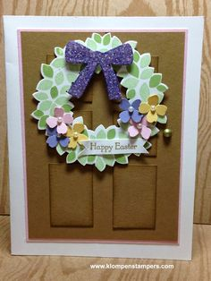 """Winter, Spring, Summer, Fall.....Winter, Spring, Summer, Fall.....You can use this wreath for any season.....Stampin' Up! Wondrous Wreath.  See the other """"seasons"""" on my blog:  www.klompenstampers.com"""