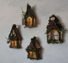 Fairy Window with Gabled Pinecone Accent Dormer / Delicate Twinkling Light ~ Handcrafted by Olive Fairy Accessories, Fairy House, Fairy Door Fairy Garden Furniture, Fairy Garden Houses, Fairy Gardening, Fairies Garden, Hydroponic Gardening, Container Gardening, Fairy Crafts, Gnome House, Ideias Diy