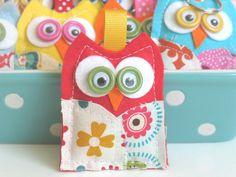 Little OwlHandmade Felt and Fabric OWL Keychain by jellybeanstudio