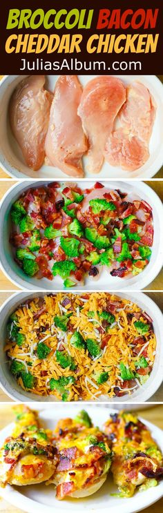Baked Broccoli Bacon Cheddar Chicken Breasts – easy dinner that a whole family will love! Just throw all ingredients together and bake! Low Carb Recipes, Diet Recipes, Cooking Recipes, Healthy Recipes, Cheese Recipes, Keto Recipes Dinner Easy, Diabetic Chicken Recipes, Easy Diabetic Meals, Diabetic Friendly