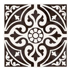 British Ceramic Tile Victoriana feature black matt tile 331mm x 331mm