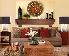 A mantle over the couch -if no fireplace mantle. cozy....IDEA FOR CARO. LOOK AT OVERALL COLOR USE!!!