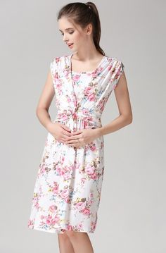 Pink floral maternity and nursing dress www.modmums.com