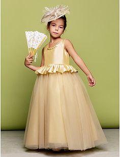 Flower Girl Dress Floor-length Taffeta/Tulle Ball Gown Sleeveless Dress – USD $ 64.99