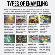 At it's root, the ancient art of enameling is simply the art of melting glass on metal. The techniques humans have devised to do this are incredible. A few of our favorites: