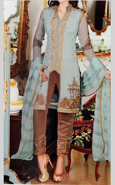 Sky Blue/Brown Chiffon Suit. | Buy Charizma by Riaz Arts Dresses