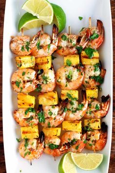 So delicous and easy! Less than 25 mins to make these grilled shrimp and pinapple skewers. Perfect for dinner or a party! Pork Rib Recipes, Grilled Shrimp Recipes, Grilling Recipes, Fish Recipes, Seafood Recipes, Cooking Recipes, Healthy Recipes, Grilled Shrimp Skewers, Vegetarian Grilling