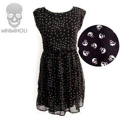 Vestido decote canoa Tiny Skulls http://loja.miniminou.com.br/pd-107dcd-vestido-acinturado-com-bojo-cruzes.html?ct=25bf2&p=1&s=1