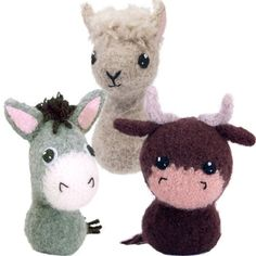 CraftyAlien® - Born in a Barn 3 Felted Knit Amigurumi Pattern: Donkey, Alpaca, Bull, $6.00