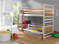 Pat din lemn de pin Miromir #kidsroom #kids #homedecor #inspiration Childrens Bunk Beds, Kids Bunk Beds, Mattress Covers, Bed Mattress, Bunk Bed Curtains, Toddler And Baby Room, Bunk Beds With Drawers, Wood Joinery, Built In Desk