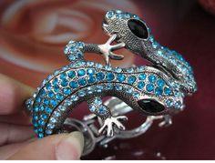 De haute qualité en alliage de charme bracelet en argent antique plaqué purple cristal lézard bracelets. am055