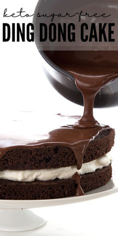 Titled image: pouring sugar-free chocolate ganache over a keto ding dong cake Low Carb Chocolate Cake, Sugar Free Chocolate, Keto Chocolate Recipe, Chocolate Ganache, Mug Recipes, Sugar Free Recipes, Baking Recipes, Keto Recipes, Ketogenic Recipes