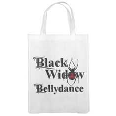 Black Widow Bellydance Re-useable Grocery Tote Reusable Grocery Bags