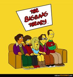 The Big Bang Theory Simpsons Version as they sit on the classic couch.