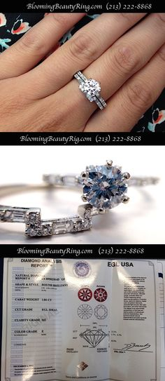 """A pretty bridal ring set with a lower clarity grade center diamond that has an Excellent Cut grade so you are not likely not see the imperfections in the diamond with your """"naked eye"""" through all of the sparkle.  A good way to save some money on your center diamond  http://www.bloomingbeautyring.com  #SI2ClarityGradeDiamod  #BridalRings"""