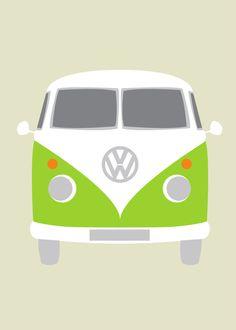 vw bus cartoon for bustache card