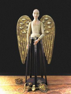 "27"" Santos Cage Doll, Cream - Here made into an angel with our large wings kit."