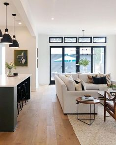 🍀Cub & Clover 🍀Small living room ideas apartment budget 13 Home Design Living Room, Small Living Rooms, Home And Living, Living Area, Rectangular Living Rooms, Small Living Room Kitchen Ideas, Living Room With Windows, Cream And Black Living Room, Living Room And Kitchen Together