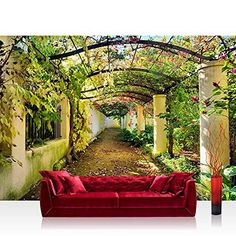 Non-woven photo wallpaper 300x210 cm PREMIUM PLUS Wall Mural Photo Wallpaper Picture - WAY IN MY GARDEN - Garden Terrace Tendriln Flower 3D Perspective - no. 047, http://www.amazon.co.uk/dp/B00LSGF2HQ/ref=cm_sw_r_pi_awdl_x_l.VXxbKZF8HPA