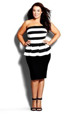 So cute!  Plus Size Stripe Strapless Peplum Dress