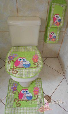 jogo banheiro mamãe coruja verde xadrez