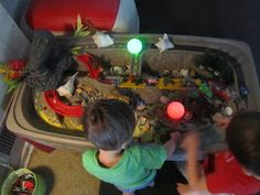 I turned my twins step2 car and canyon table into a discovery/sensory table to make it into a more open ended toy