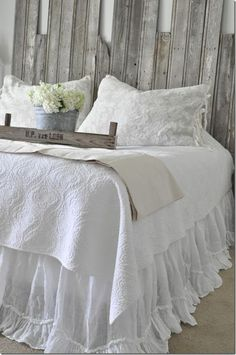 Becky Cunningham Home, vintage, country, farmhouse, bedroom inspiration, diy headboard, reclaimed wood, rustic, Bella Notte, bedskirt, white bedroom, french crate, bedding, vintage French sheet
