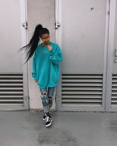 "14.9k Likes, 40 Comments - Kim | Germany-Stuttgart (@blvckd0pe) on Instagram: ""Tiffany blue oversized sweater : @vandox.design ____________________www.vandox.net """