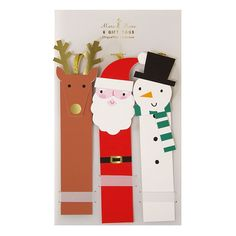 These cute gift tags come in snowman, reindeer and Santa shapes. The tags are embellished with shiny gold foil and have a gold ribbon tie. Quantity: 6 gift tags in 3 styles. Christmas Gifts 2016, Christmas Cards To Make, Christmas Gift Wrapping, Christmas Tag, Xmas Cards, Christmas Crafts, Christmas Activities For Kids, Christmas Characters, Greeting Cards Handmade