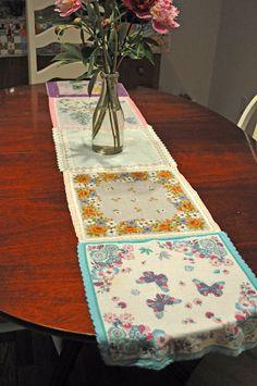 table runner made of vintage handkerchiefs