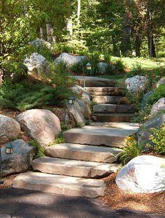 Garden Steps On A Slope Ideas Garden Stepping Stones Garden Steps On A Slope Ideas. Stone Landscaping, Hillside Landscaping, Landscaping With Rocks, Front Yard Landscaping, Landscaping Ideas, Landscape Stairs, House Landscape, Landscape Design, Garden Design