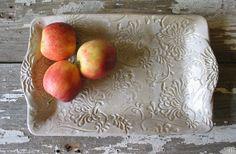 Pottery Serving Tray  Platter  White Pottery  by DragonflyArts, $48.00