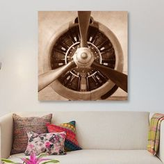 """East Urban Home 'Aviation II' Graphic Art Print on Canvas Size: 37"""" H x 37"""" W x 0.75"""" D"""
