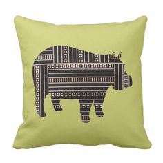 Vintage Antique Hippo Ethnic Pattern Tribal Throw Pillow