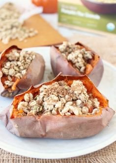 Breakfast Sweet Potatoes with Granola and Brown Sugar