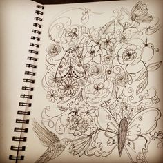 Natures beauty illustration  #elexeye #Elexeyedesign #creative #artist #art #illustration #paper #pencil #pen #butterfly #hummingbird #flowers #nature #moth #ladybug #sketchbook