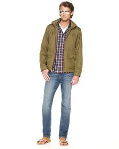 michael kors - He'd happily rock this. I'm on the fence on the plaid, but the shades make this okay for me. Maybe a darker wash jean on Ry, though.