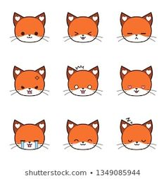 Set Cute Cat Face Different Color Stock Vector (Royalty Free) 1350242702 Cute Cat Face, Cat Icon, Simple Cartoon, Different Colors, Pikachu, Hello Kitty, Royalty Free Stock Photos, Cats, Illustration