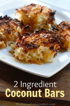 Easy 2 Ingredient Coconut Bars  |  Mrs. Happy Homemaker