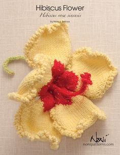 Hibiscus Flower made in Shepherd's Wool Spring Chick petals with Hot Pink center. Knitting Books, Knitting Stitches, Knitting Yarn, Knitting Projects, Knitting Patterns, Crochet Patterns, Hibiscus Flowers, Diy Flowers, Crochet Butterfly Pattern