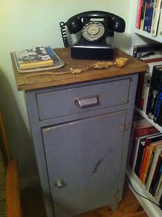 VINTAGE INDUSTRIAL side table telephone bedside hall stand RETRO metal cabinet