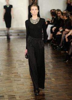 Ralph Lauren Runway 2012 Fall. Same type of look achievable by using scoop neck sweater and bib necklace?