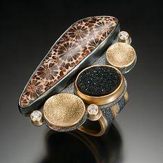 Beth Solomon  Petrified Coral Ring Sterling, 18k, 22k, diamonds, druzy quartz, petrified coral 1.75 x 1.5 x .25 inches