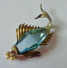 Vintage Crown Trifari Sterling Silver Faceted Jelly Belly Fish Pin | eBay